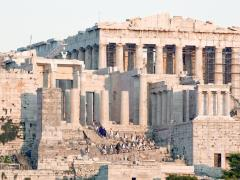 26_Parthenon-on-Acropolis-hill-in-the-afternoon-with-the-national-guard-climbing-the-stairs-to-retrieve-the-flag