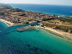 Potidea-sea-canal-in-Greece,-aerial-view